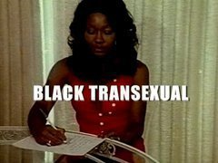 Sexy ebony vintage tranny dressed only in black stockings sucks the dick of her boyfriend. T...