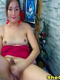 Asian Hot Shemale Masturbating