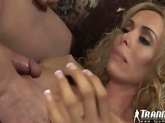 The blonde shemale is beautiful and has hardcore anal sex in the great video. Her big tits a...