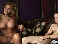 The two guys are all over this curvy tranny in their threesome. They suck and kiss her and s...