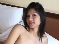 Asian shemale models her boots
