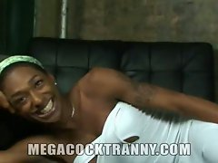 Fit black tranny whips it out