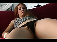 Tranny makes her small cock cum twice