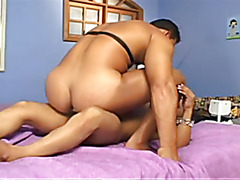Shemale midget with a donkey dick fucks a muscle stripper dude who is 3 times her size. This...