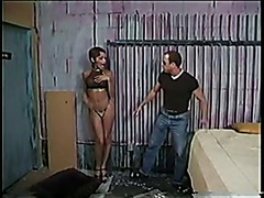 Shemale with great boobs gets fucked by mechanic in car shop