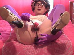 Inflatable dildo with chastity toy on