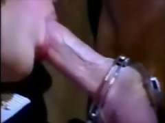 The glamorous shemale beauty smokes a cigarette and plays with her man's cock as the video o...