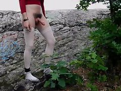 Sissy in the woods stroking