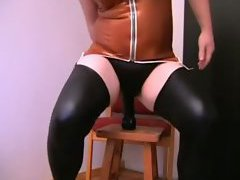 The latex outfit is tight on the chubby sissy boy and he feels sexy in it. His ass is horny ...