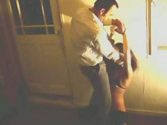 The skinny shemale in wet look leggings is his toy to use and he treats her that way in the ...