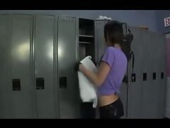 She sneaks into the locker room in her sporty outfit and the pigtailed shemale promptly stri...