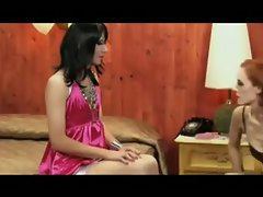The mistress in lingerie has her sissy dolled up in a sexy pink satin dress so she can make ...