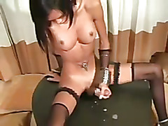 the sweet asian ladyboy plays at home and suck her own big cock