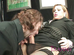 Tranny Art Tranny in office suite fucking the boss in the as