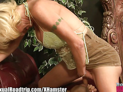 This older blonde shemale can't get enough facesitting, cock sucking, and double cock tuggin...
