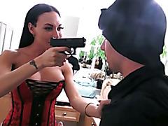 Stranger became a slave for a wild busty TS goddess