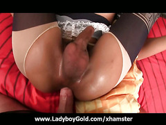 Tranny Natty has her cute ass oiled up and opened by a buttplug and bareback cock! She's wea...