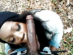 Black Tranny sucking and fucking outside