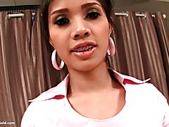 Ladyboygold Nurse Mac gets a cumshot all over her braces, pretty face and even up her nose! ...