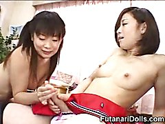Young japanese hermaphrodite makes her futanari friend cum like crazy instead of helping her...