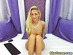 Sizzling hot shemale in front of the webcam with her dick hard erect jerking. Watch this blo...