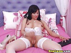 Big Cock Pretty Shemale Masturbating