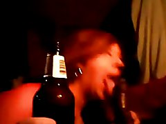 sissy bitch sucking Daddy`s BBC while holding His beer