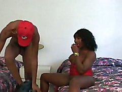 ebony shemale and black guy fuck each other bareback