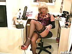 Sexy blonde crossdresser fingers ass and wanks hard cock