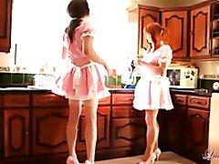 Cute crossdresser sluts dressed as Maids have blowjob party