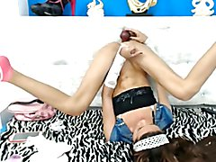 Latin shemale teen toying her asshole and cums on herself