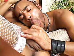 Hot brunette tranny with mesh stockings gets sucked, then fucks this latin sissy