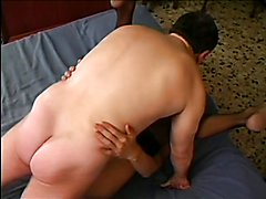 Nerdy guy anal fucks grizzly blonde tranny with big tits in hotel bedroom