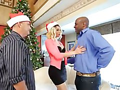 Christmas cuckold scene with the beautiful transsexual