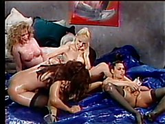Tranny babe in group sex fucked