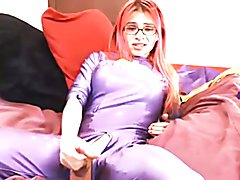 missrobo masturbates and cums in purple outfit