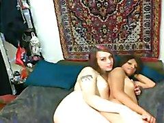 2 Lesbians sissy boy playing sex for fun