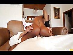 Beautiful black cockgirl rides big dick