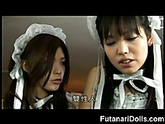 Young asian hermaphrodite gets fucked hard by a teenie futanari maid until she jizzes in her...