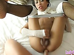 Teen ladyboy gets her asshole stretched open by a white guy
