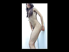 Luna Trap in fishnets cums hard after riding a dildo