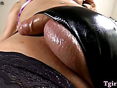Big boobs tranny handjobs and anal toyed