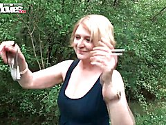 Julia is a sexy German blonde housewife in for some sexual adventures. She goes to the park ...