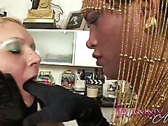 Tranny Art Blonde MILF fucked by chick with a dick  - clip # 03