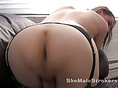 June Thomas Young Shemale Fishnet Stockings Stroking Big  - clip # 03