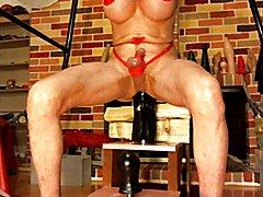 Bobbie using Huge dildo 1