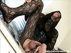 Horny crossdresser in fishnets masturbates her big soapy cock in kitchen sink