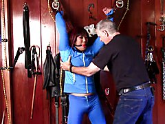After exercise work out Domination: Louann is cuffed and gagged to the St, Andrews cross by ...