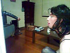 Tgirl learns to get throated