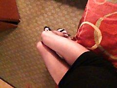 Long slim legs in sheer hose